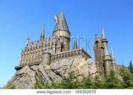 Osaka, Japan - Nov 5, 2016: The Wizarding World of Harry Potter in Universal Studios Japan. Universal Studios Japan is a theme park in Osaka, Japan.Hogwarts Castle