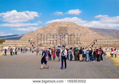 TEOTIHUACAN,MEXICO - DECEMBER 26,2016 : Tourists at the Teotihuacan archaeological site near Mexico City