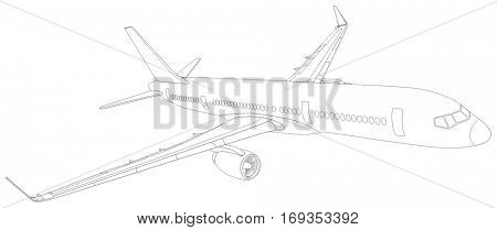Commercial Plane Outline Flying in the Sky travel tourism business holiday vacation aviation concept passenger jet sketch with out line all parts cockpit body wings tail windows doors vector