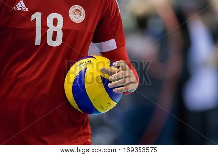 Closeup Of Hands And Ball During The Hellenic Volleyball League Game