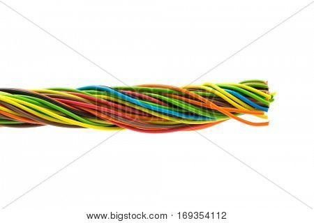 Color wires on white background