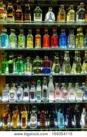 Prague, Czech Republic - November 25, 2016: Mini bar bottles collection in the alcohol shop