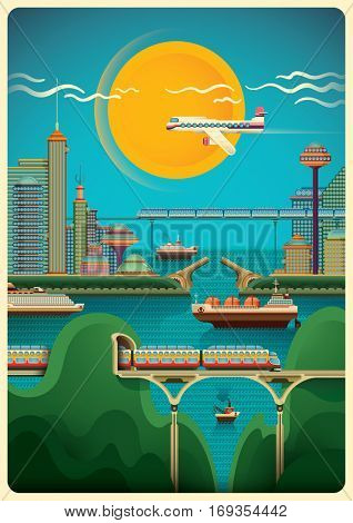 Illustration of modern city scene by the sea with railway, buildings, ships, airplane, and sunny sky. Vector illustration.