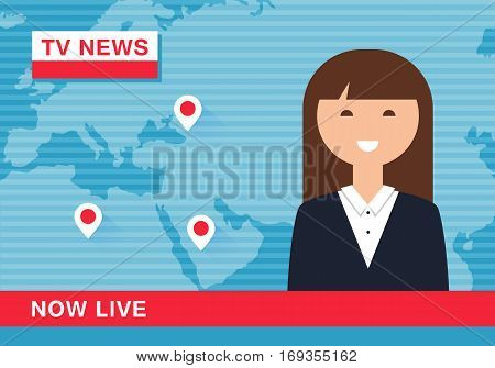 Anchorwoman Reading News in Live TV Broadcast. Vector Illustration
