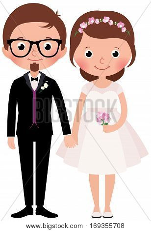 Happy couple newlywed bride and groom Stock Vector cartoon illustration