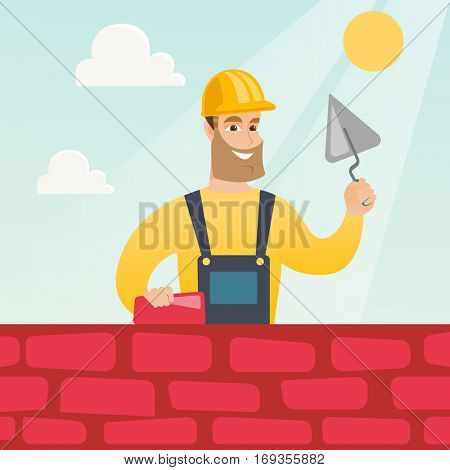 Young bricklayer in uniform and hard hat. Caucasian bicklayer working with spatula and brick on construction site. Bricklayer building a brick wall. Vector flat design illustration. Square layout. poster
