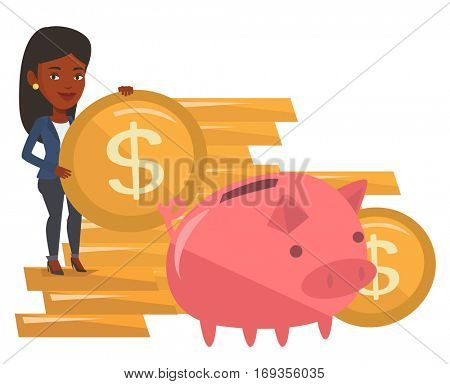 African-american businesswoman saving money in piggy bank. Businesswoman putting money in a big pink piggy bank. Concept of saving money. Vector flat design illustration isolated on white background.