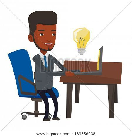 African-american man having a business idea. Young businessman working on laptop on a new business idea. Successful business idea concept. Vector flat design illustration isolated on white background.