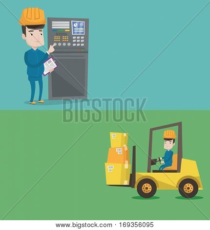 Two industrial banners with space for text. Vector flat design. Horizontal layout. Warehouse worker loading cardboard boxes. Forklift driver at work. Warehouse worker driving forklift at warehouse.
