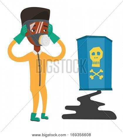 African-american man looking at leaking barrel with radioactive sign. Man in respirator and radiation protective suit clutching his head. Vector flat design illustration isolated on white background.