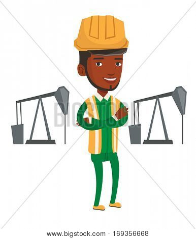 An african oil worker in uniform and helmet. Oil worker standing with crossed arms. Oil worker standing on the background of pump jack. Vector flat design illustration isolated on white background.