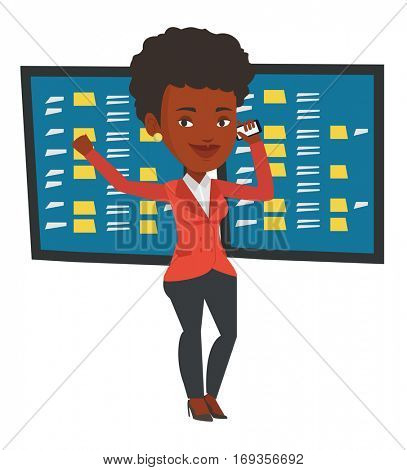 An excited businesswoman talking on mobile phone on the background of display of stock market quotes. Happy stockbroker at stock exchange. Vector flat design illustration isolated on white background.