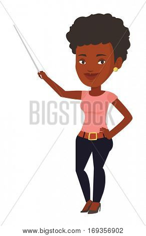 African-american teacher standing with a pointer. Young smiling teacher with pointer. Student standing with a pointer. Vector flat design illustration isolated on white background.