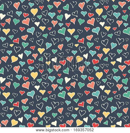 Seamless Festive Love Abstract Pattern with Hand Drawn Hearts on Dark Blue Background
