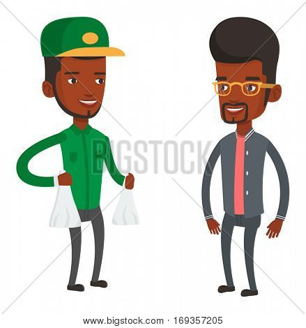 African delivery man delivering groceries. Delivery man delivering online shopping order. Delivery man carrying packages with groceries. Vector flat design illustration isolated on white background.