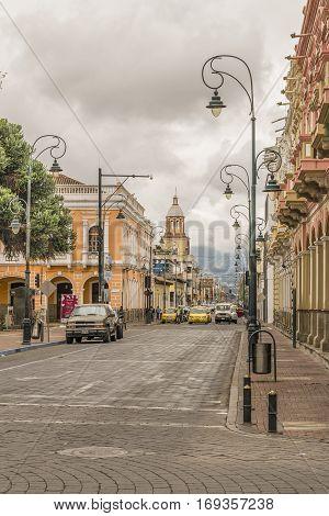 RIOBAMBA, ECUADOR, FEBRUARY - 2016 - Urban scene at historic center of Riobamba city in Ecuador.