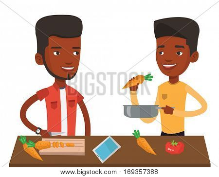 African-american men cooking healthy vegetable meal. Men having fun while cooking together healthy meal. Men preparing vegetable meal. Vector flat design illustration isolated on white background.