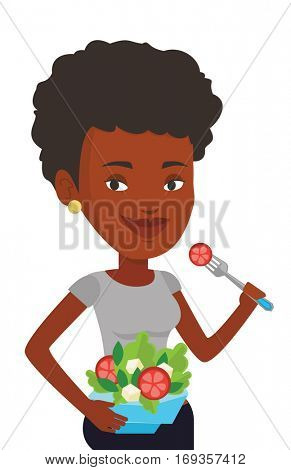 African woman eating healthy vegetable salad. Woman enjoying fresh vegetable salad. Woman holding fork and bowl with vegetable salad. Vector flat design illustration isolated on white background.