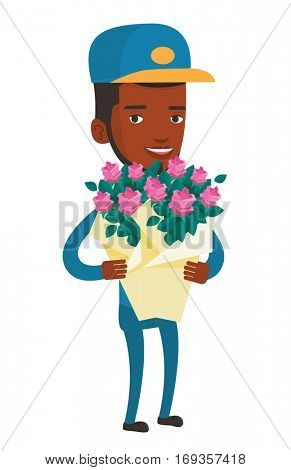 Young african-american delivery man delivering flowers. Delivery courier with bouquet of flowers. Delivery man holding bouquet of flowers. Vector flat design illustration isolated on white background.