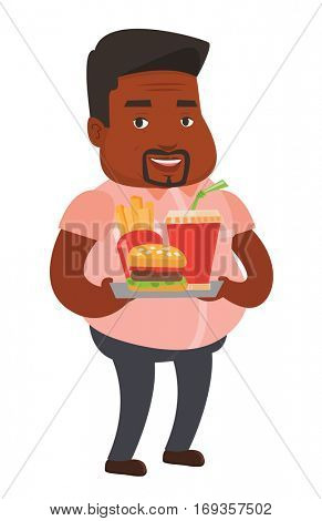 African-american fat man having a lunch in a fast food restaurant. Happy fat man holding tray with fast food. Fat man eating fast food. Vector flat design illustration isolated on white background.