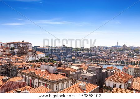 Panorama Of The Douro River And Porto Skyline. Porto, Portugal