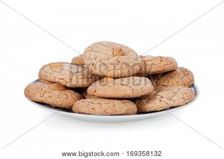 Almendrados, a typical and traditional almond biscuit from the Algarve region of Portugal, on a plate and isolated on white background