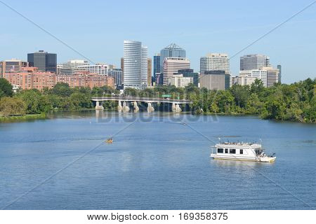 Potomac River and Rosslyn District as seen from Memorial Bridge - Washington DC USA