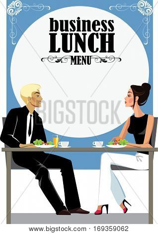 menu for business lunch, people at  lunch