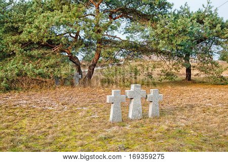 three stone crosses in the old cemetery on gloomy cold autumn day