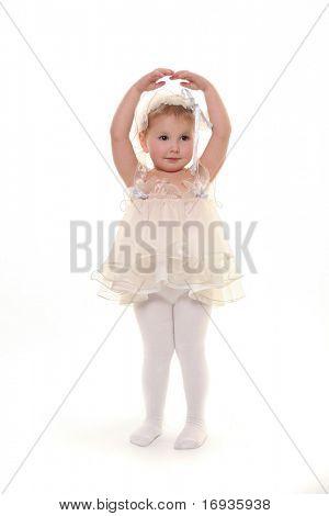 schattig klein meisje geïsoleerd op wit