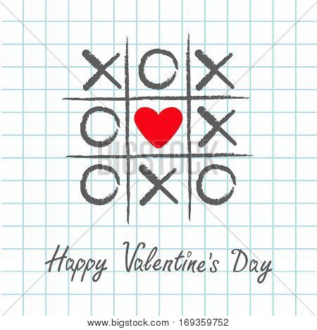 Tic tac toe game with criss cross and red heart sign mark XOXO. Hand drawn pen brush. Doodle line. Happy Valentines day card Flat design. Exercise book White background Paper sheet Vector illustration