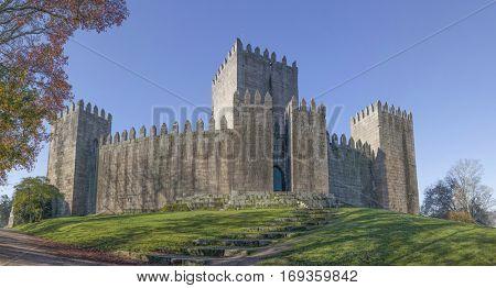 Panorama of Guimaraes castle, north of Portugal