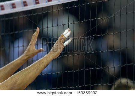 Hands On Net During The Hellenic Volleyball League Game