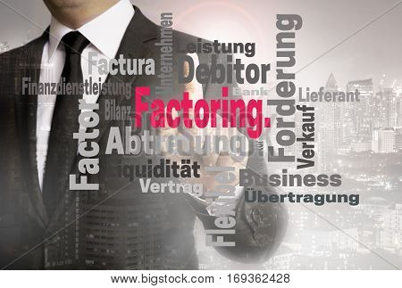Factoring Wordcloud Touchscreen Is Shown By Businessman
