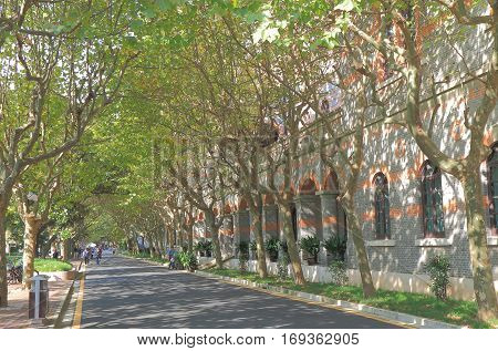 SHANGHAI CHINA - NOVEMBER 2, 2016: Unidentified people visit Jiao Tong University. Jiao Tong University is renowned as one of the oldest, most prestigious and selective universities in China.