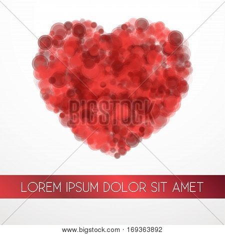 Red blood cells Vector illustration Red blood cells in heart shape on white background with space for inscription