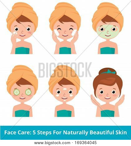 Stock vector cartoon illustration young woman taking care of her face skin in 5 beauty steps