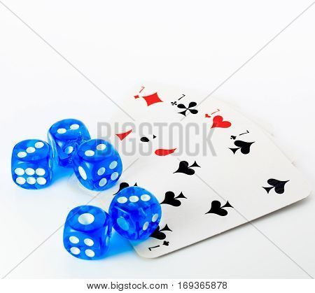 set of blue dices and cards on white background