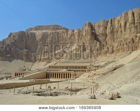 Hatsheput Temple is a large temple in Egypt.  Queen Hatsheput was the first Queen of Egypt.  Egypt, 2008