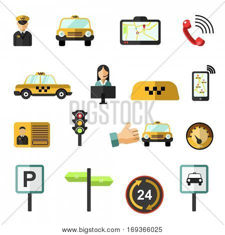 Taxi service icons set. Symbols of passenger public transportation and transport: cab and map, yellow car and driver, route, dispatcher and traffic light. Vector flat design isolated elements