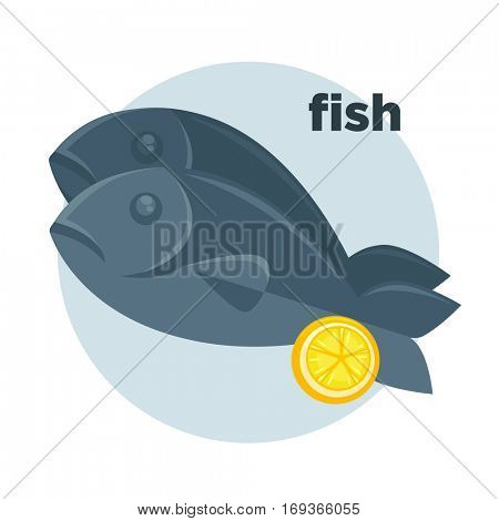 Illustration of fish with lemon in cartoon style. Dorado on dish - fresh seafood dinner in restaurant for gourmet. Vector icon of healthy food of sea. Design element isolated on white background.