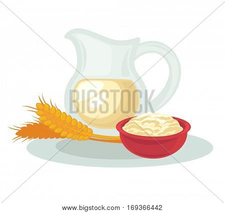 Organic natural dairy and healthy wheat product. Jug with milk drink, cream and ear of oat or rye. Vector cartoon illustration isolated on white background