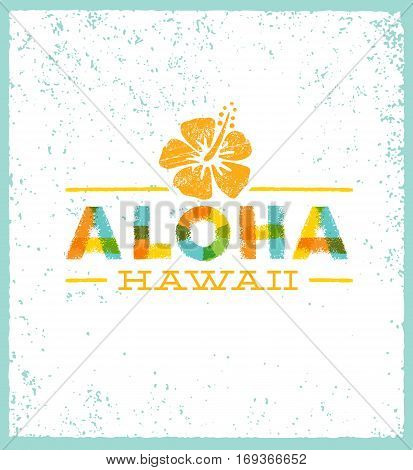 Aloha Hawaii Creative Summer Beach Tropical Vector Design Element.