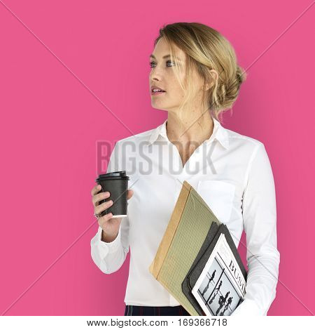 Business Woman Business Folders Coffee Concept