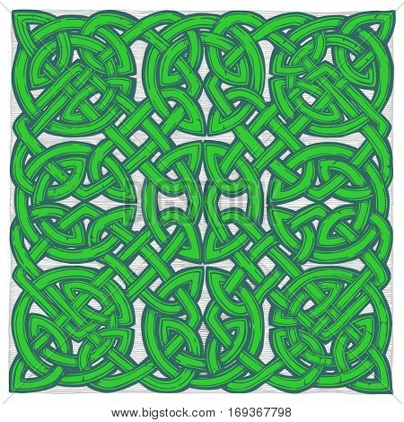 Seamless celtic knots green patterns in ink hand drawn style.