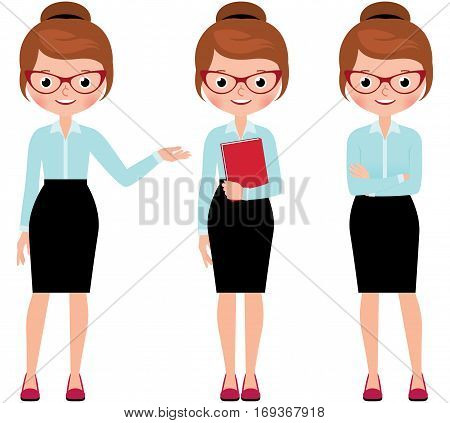 Business woman in full length isolated on a white background in different poses making various gestures Stock Vector cartoon illustration