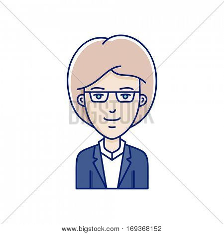 Cute girl avatar. Vector linear face expression illustration