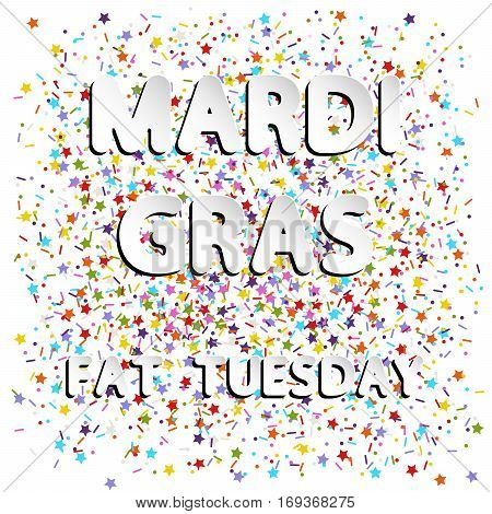 different vector lettering word of mardi gras fat tuesday with white and gray gradient as paper or metallic effect on colored flat sprinkles stars dots and lines confetti background