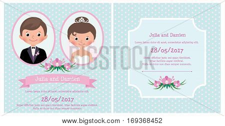 Wedding Invitation Card portrait of newlyweds bride and groom and a bouquet of flowers Stock vector illustration