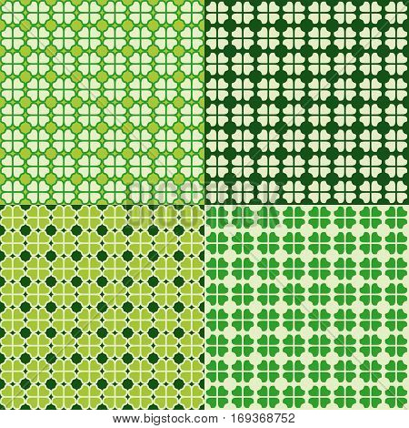 Set of St. Patricks Day backgrounds. Collection of green shamrock seamless patterns in traditional colors. Vector illustration.